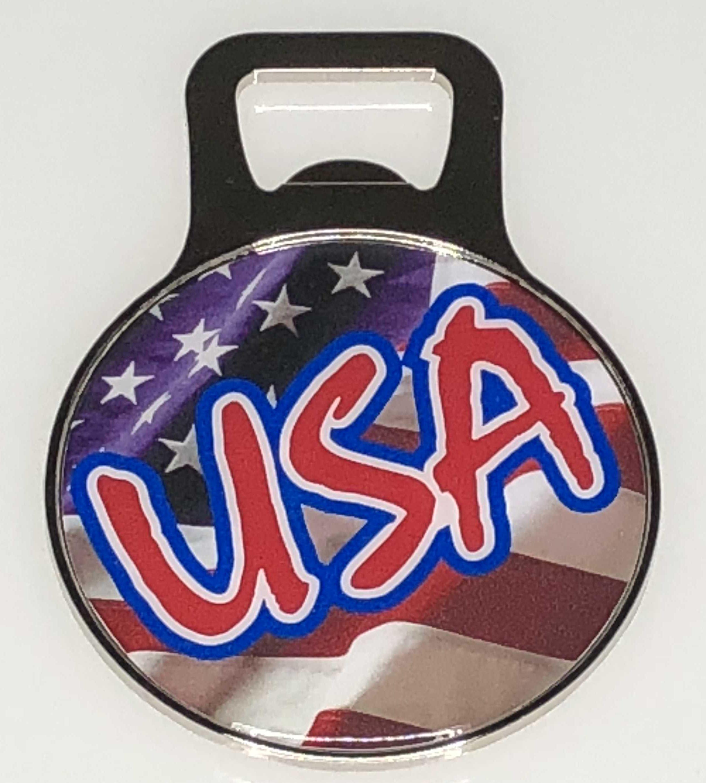 65a3584599b19b Jumbo CIrcle Shape Bottle Opener Magnet - USA Flag