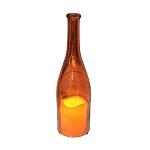 Glass Bottle w/Flameless Candle - Orange