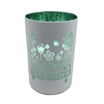 Metallic Colored Glass Filled LED Candle w/Timer - WHITE w/GREEN