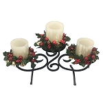 Classic Black Scroll Candle Holder w/3 Wax Flameless Candles