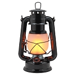 Vintage Metal LED Hurricane Lantern w/Flame Effect - Black