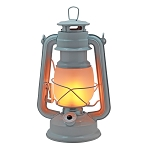 Vintage Metal LED Hurricane Lantern w/Flame Effect - White