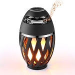LED Table Lamp w/Flicker Flame and Bluetooth Speakers