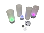 LED Tea Lights in Plastic Cup - 4/Set