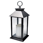 Plastic LED Lantern w/LED Candle - Black