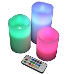 LED Wax 3-Pc Color Changing Candle Set