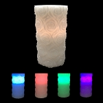 Flameless LED Wax Candle w/Rose Decoration
