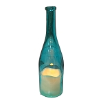 Glass Bottle w/Flameless Candle - Blue