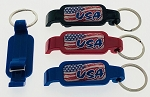 Plastic Poptopper USA Bottle Opener Key Tag - Assorted Colors