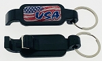 Plastic USA Poptopper Bottle Opener w/Split Ring - Black