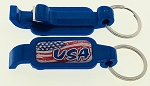 Plastic Poptopper USA Bottle Opener w/Key Tag - Blue