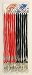 Lanyards - Cord Style - BLACK & RED - 24/Card