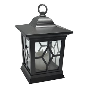 Plastic Flickering LED Lantern - Black