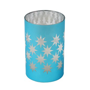 Metallic Colored Glass Filled LED Candle - BLUE