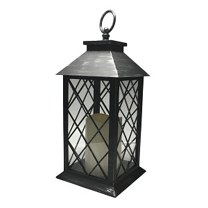 Plastic LED Candle Lantern - Antique Silver