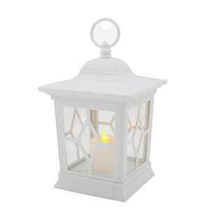 Plastic Flickering LED Lantern - White