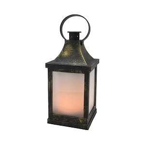 "Vintage 10"" LED Plastic Lantern - Antique Brass w/Swinging Ring"