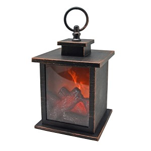 "Decorative Fireplace Lantern - 9"" High - BRUSHED COPPER"