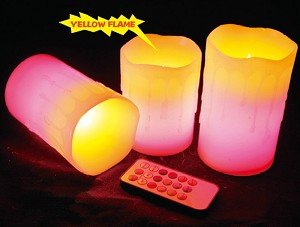 2-Tone Melted Wax Candle Set w/Remote Control