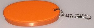 Oval Squeeze Float Key Tag - ORANGE - Bulk