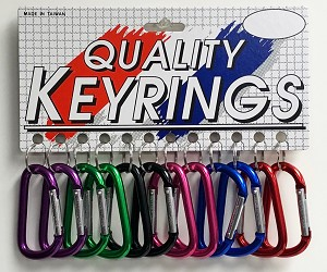 "3"" D-Shape Only Carabiners - 12/Card"