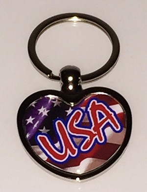 Heart Key Tag w/USA Flag Dome - Bulk