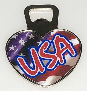 Jumbo Heart Shape Bottle Opener Magnet w/USA Flag