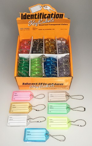 Transparent Key Label w/Bead Chain - 100/Display Box